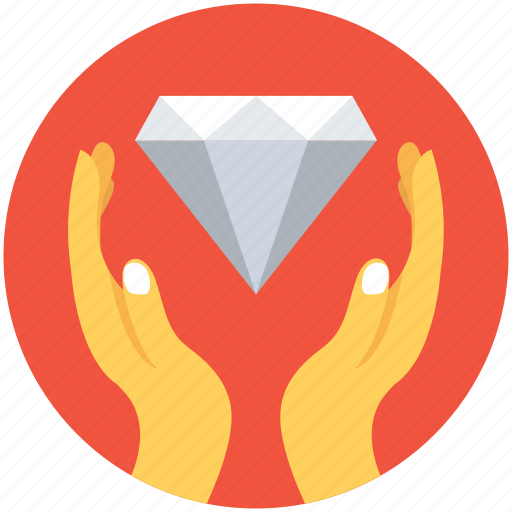 diamond, hands, insurance, savings, wealth icon