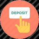 banking, deposit, hand gesture, online deposit, transaction icon