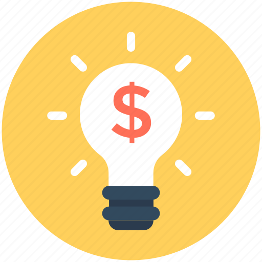 bulb, business idea, creativity, dollar, finance icon