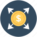 arrows, business expansion, business growth, dollar, investment icon