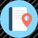 book, gps, map book, map pin, navigation