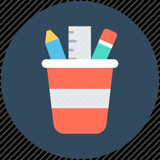 geometry box, pencil box, pencil case, pencil pot, stationery holder icon