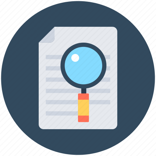 data searching, find document, magnifier, searching document, text searching icon
