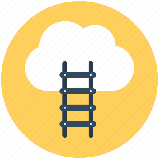 cloud computing, cloud hosting, data cloud, stairs, technology icon