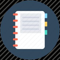 diary, log pad, notebook, notepad, writing pad icon