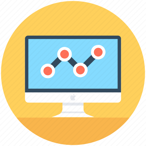 analytics, infographic, monitor, online graph, seo graph icon