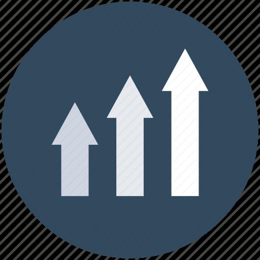 arrows, growth, profit, promotion, up arrows icon
