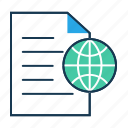 browsing, content, document, globe, internet publishing, publish icon