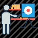 business plan, instruction, marketing, set goals, training icon