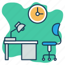office, study table, working area, working hours, workplace icon
