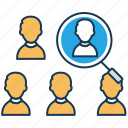 audience analysis, customer acquisition, marketing, search employee icon