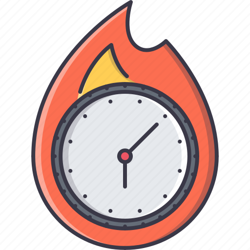business, clock, deadline, fire, office, time, work icon