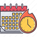 business, calendar, clock, deadline, fire, time, work icon