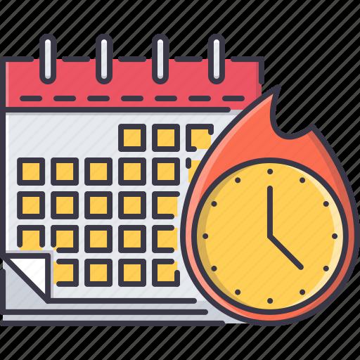 business, calendar, clock, deadline, fire, time, work icon