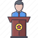 business, conference, job, presentation, press, speech, work icon