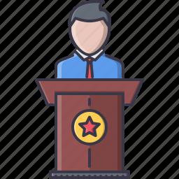 business, conference, job, presentation, press, speech, work icon