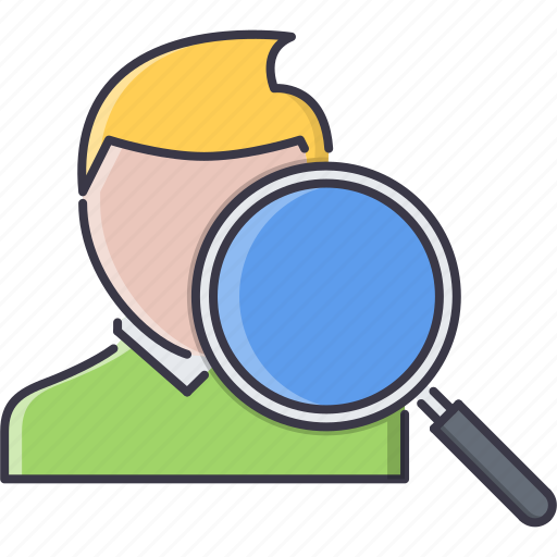 head, hunter, job, man, office, search, work icon