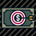 achievement, cash, dollar, money, profit, target