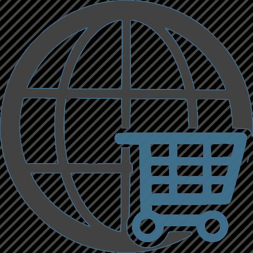 cart, global, international, shipping, shop, shopping, worldwide icon