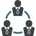 businessman, ciecle, connection, network, team, teamwork, work icon