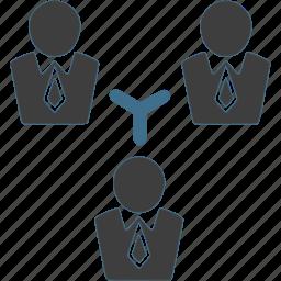 businessman, connection, network, team, teamwork, work icon
