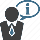 businessman, customer service, help, info, information, support icon
