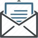 document, envelope, letter, mail, message, opened icon