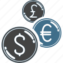 british pound, coins, currency, dollae, euro, exchange, money icon