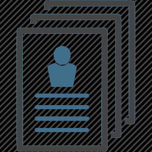 cv, document, hr, person, recruitment, resume, work icon