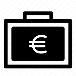 cash, currency, eur, euro, finance, money, suitcase icon