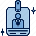 badge, business, card, degree, finance, profile, specialist icon