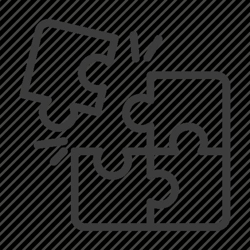 connect, idea, puzzle, solution icon