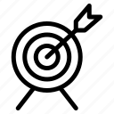 arrow, bullseye, business, finance, strategy, target icon
