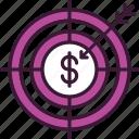 aim, arrow, business, finance, focus, goal, target icon