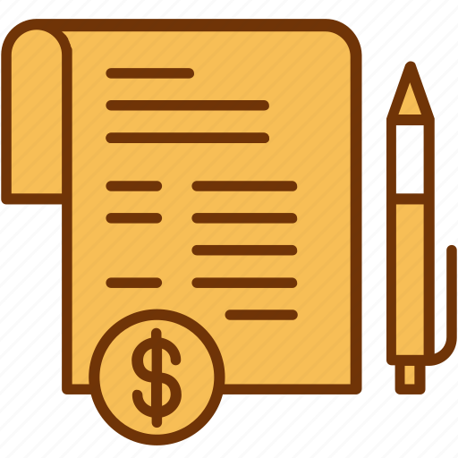 contract, document, finance, invoice, payment, pen, sign icon