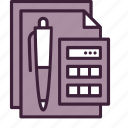 accounting, business, calculations, calculator, finance, paper, pen icon