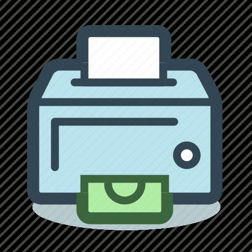 cash, dollar, earnings, money, printer, profit icon