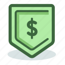 dollar, money, profit, safe, savings, shield icon