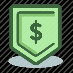 dollar, money, profit, safe, savings, shield icon
