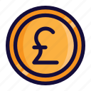 bussiness, color, currency, finance, lineal, money, poundsterling icon