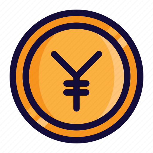 bussiness, color, currency, finance, lineal, money, yen icon