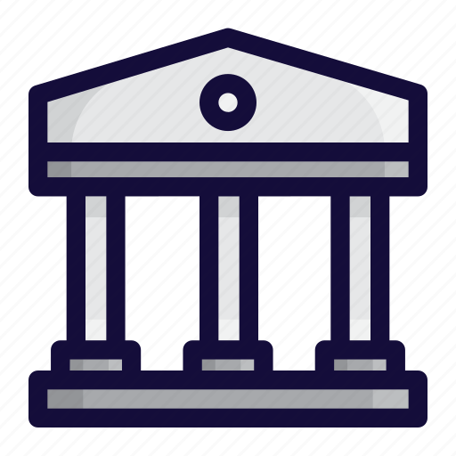 bank, bank building, building, bussiness, color, finance, lineal icon