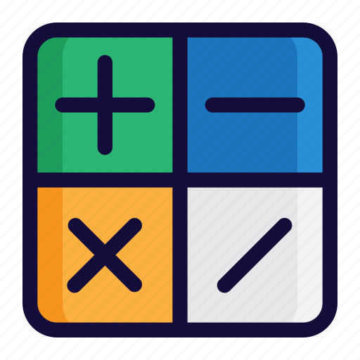 bussiness, calculator, color, finance, lineal, minus, plus icon