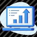 analysis, chart, grow, laptop, profit icon