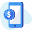 coin, dollar, mobile, money icon