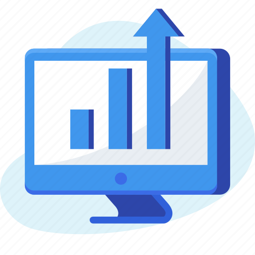 analysis, business, chart, computer, graph, growth, report icon