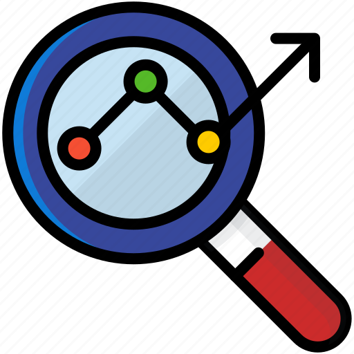 analysis, business, finance, search icon