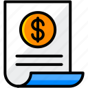 bill, business, finance, invoice, money icon