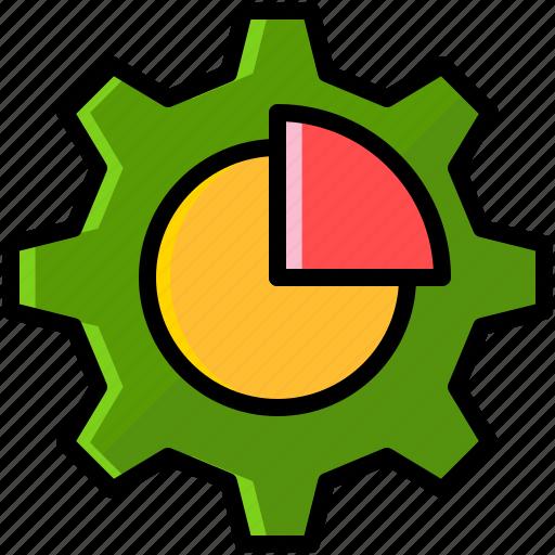 business, chart, finance, gear icon