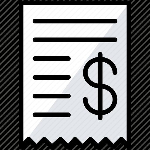 bill, business, finance, invoice, money icon
